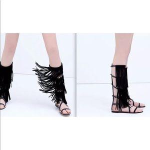 $180 Zara leather fringe gladiator sandals Sz 36